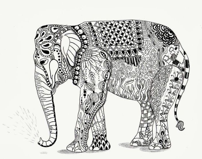 free zentangle elephant coloring pages - photo#30
