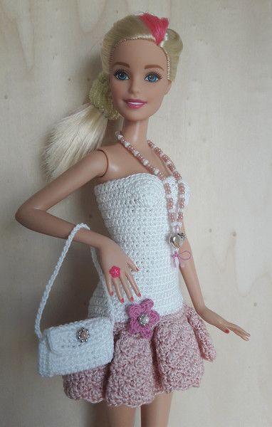 Puppenkleidung - Barbie Kleid (gehäkelt), weiß/rosa - ein Designerstück von Anna-Tim bei DaWanda