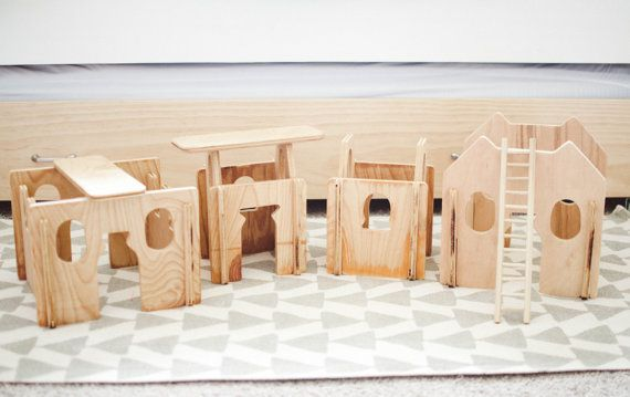These buildm walls are handmade + finished with non toxic mineral oil. 10. 4 side pieces. 2 door/window pieces. 1 door piece. 1 window piece. 2 ladders. 2 roof pieces. Approximate size: Pieces vary in size. 11.5, 7.5, 10, 8. Transform these buildm walls into castles forts, doll houses, stables, etc. The hours of play + imagination are endless. Complete with a roof, ladder, door, & window. Your child will develop fine motor skills as they build these up. The best part? These can be ta...