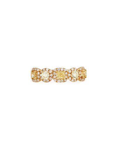 Diana M. Jewels 18k Two-Tone Multi-Row Ring w/ Yellow & White Diamonds, 4.26tcw, Size 6.5