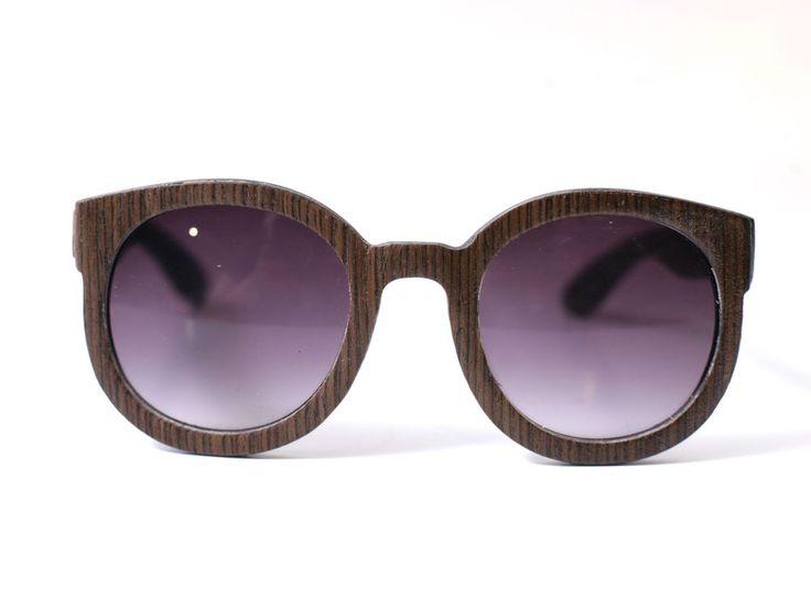 Walk in the Park Wenge Round Wood Veneer Sunglasses by TWHC