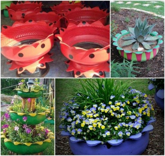 Tire Flower Planter Photo from: http://thewhoot.com.au/whoot-news/diy/diy-tyre-flower-planter Step by step guide: