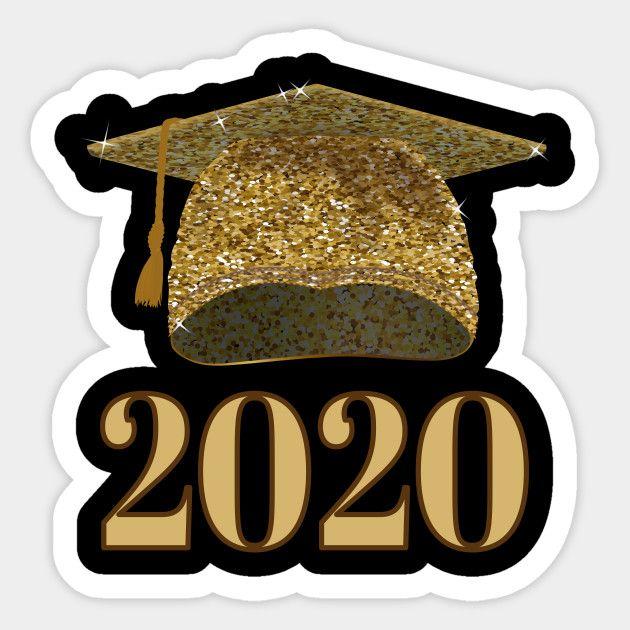Graduation Hat 2020.Gold Print Graduation Cap 2020 Graduation Gift Sticker