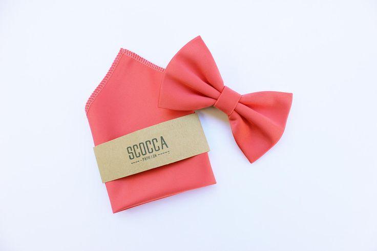 Papillon e fazzoletto,rosa corallo,uomo,matrimonio di Scocca Papillon su DaWanda.com