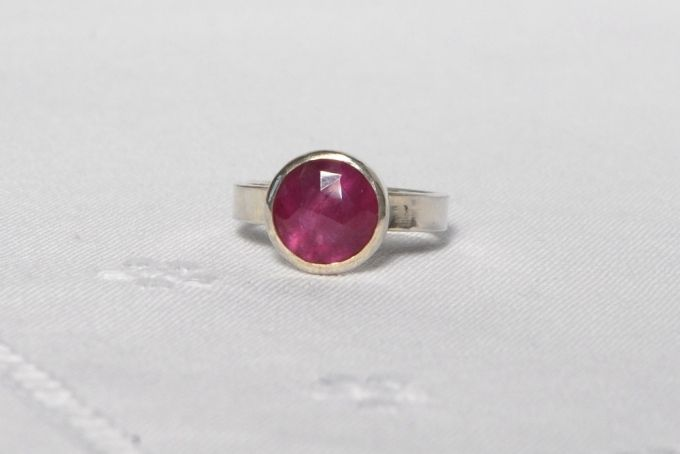 pink sapphire and sterling silver ring by The Coral Tree