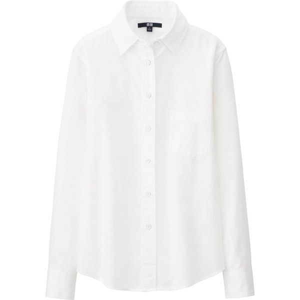 UNIQLO Denim Long Sleeve Shirt found on Polyvore
