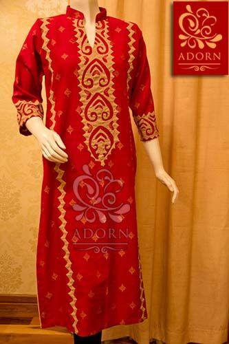 Red khaddar shirt with beige rilli Rs 4000