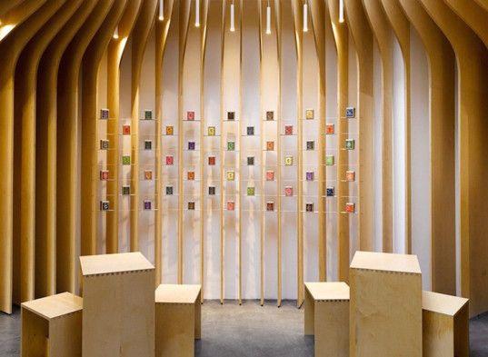 Czech Republic, Prague, tea shop, modern, minimalist design, tea store, T Lounge, Studio pha, medium-density firewood, plywood, squeegee-grade micro topping, micro topping, skylight, birch veneer
