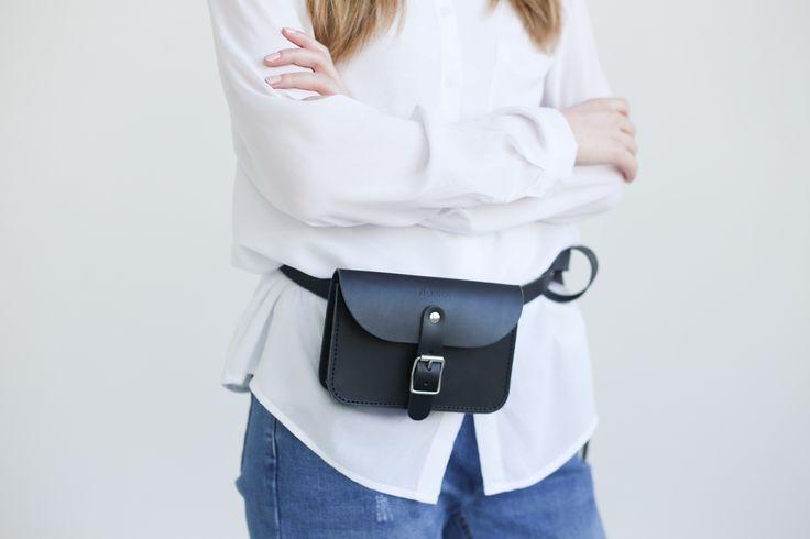 Leather Belt Bag (Black) - NOSKA SHOP