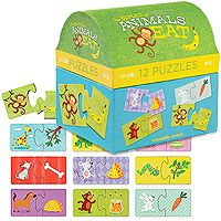 2-piece puzzle for little puzzlers! Great first puzzles for learning and play! 12 self-correcting puzzles in a great storage/gift box! Jumbo pieces for little fingers. For ages 2+ Puzzle is 7W x 3.5H. Box is 6L x 6H x 5.25W. Other designs include: Counting Animals, Baby Animals, and Where Animals Live. #CrocodileCreek #CamelotKids #puzzlesfor2years