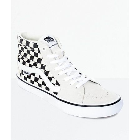 0a24a0186496 Vans Sk8-Hi Pro Black   White Checkered Skate Shoes in 2019