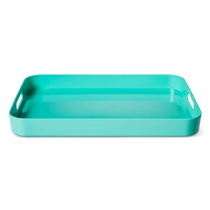 Rectangle 18.8in x 13.5in Plastic Serving Tray Green