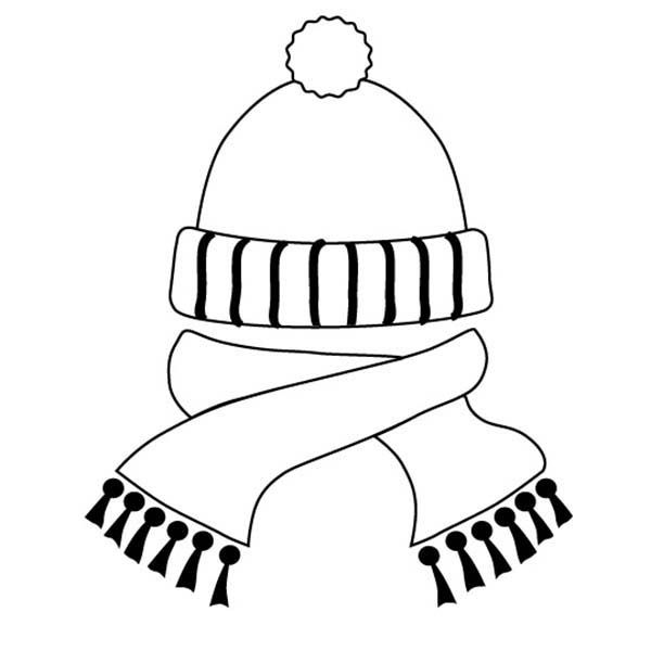 Winter Clothing Hat And Scarf In Winter Clothing Coloring Page