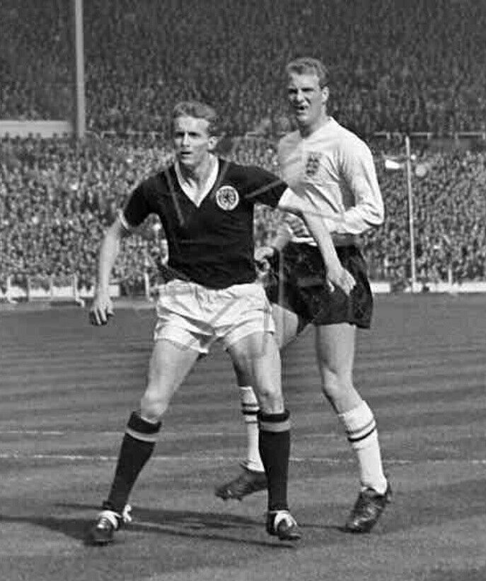 England 1 Scotland 2 in April 1963 at Wembley. Ron Flowers keeps close to Denis Law #HomeChamp