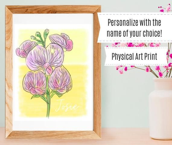April Sweet Pea Personalized Birth Month Flower Art Print Baby