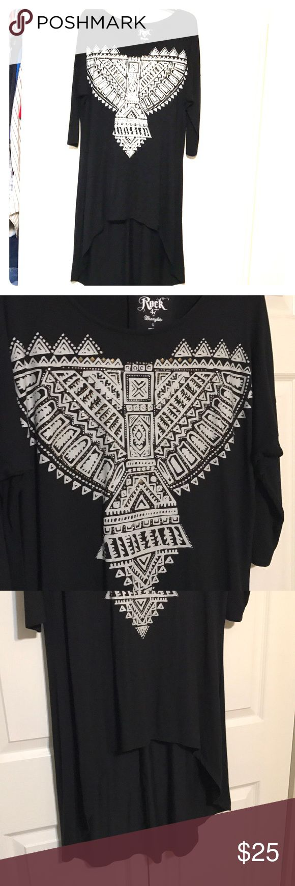 Hi-Lo Dress Black Large Rock 47 HiLo AzTec black dress NWOT very soft very cute w Western boots or dressy boots. Design is white with tiny gold studs Rock 47 by wrangler Dresses High Low