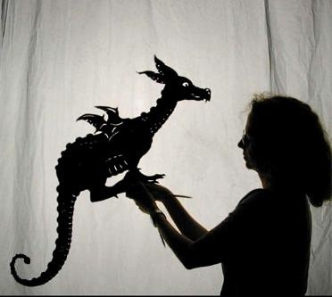 'Little Dragon' shadow puppet, co-designed with Wendy Morton for Bose in Puppets & Puppeteering by