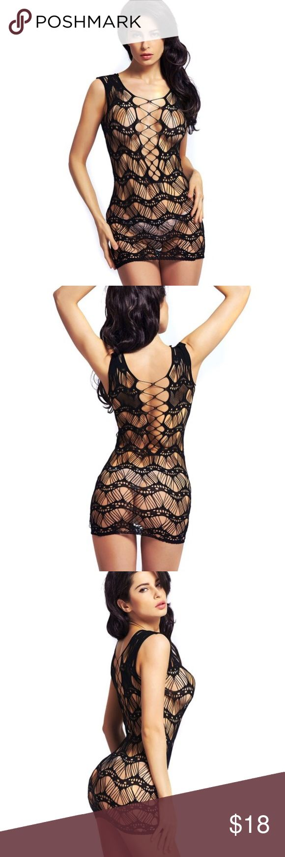 Black fishnet type dress lingerie Super hot lingerie in fishnet. One size. Mini dress style. Intimates & Sleepwear Chemises & Slips