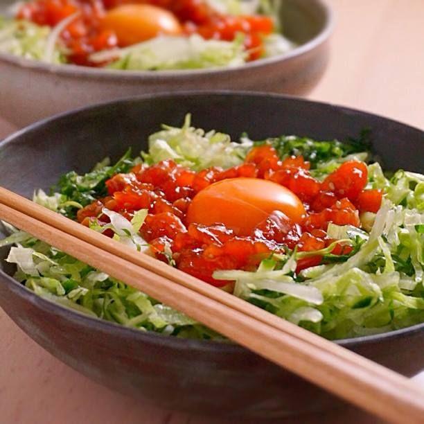野菜もたっぷりとれる、サーモンユッケ丼  |  あさこ食堂