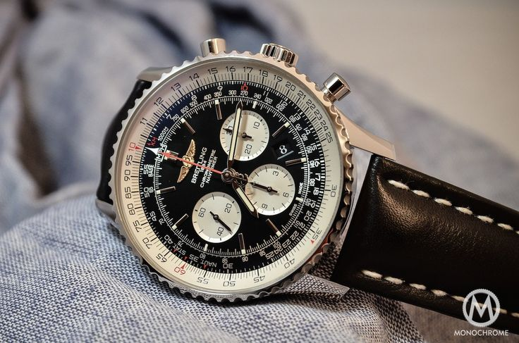 The Breitling Navitimer comes in 46mm and 48mm and remains one of the best pilot watch and chronograph, with in-house movement and vintage design