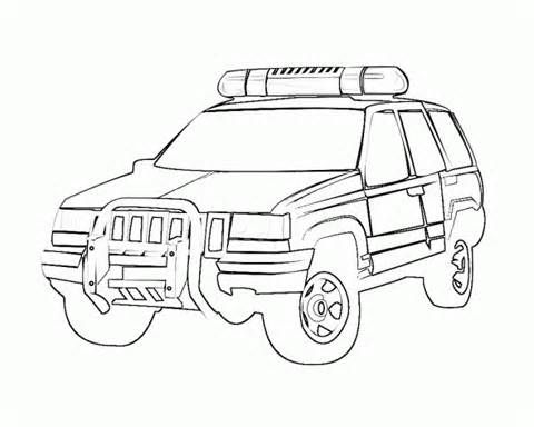Police Car Coloring Pages Printable 6 480x