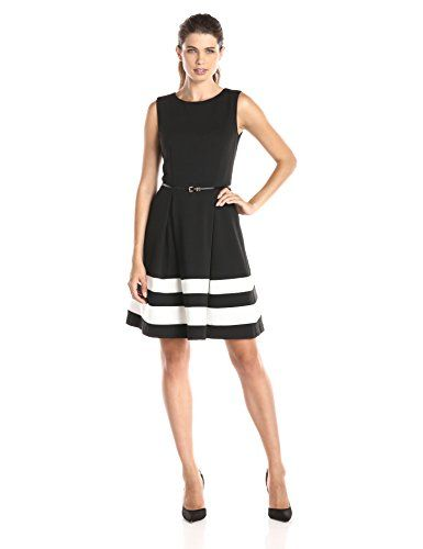 Calvin Klein Women's Fit-and-Flare Dress with Belted Waist | Amazon Hot Sales