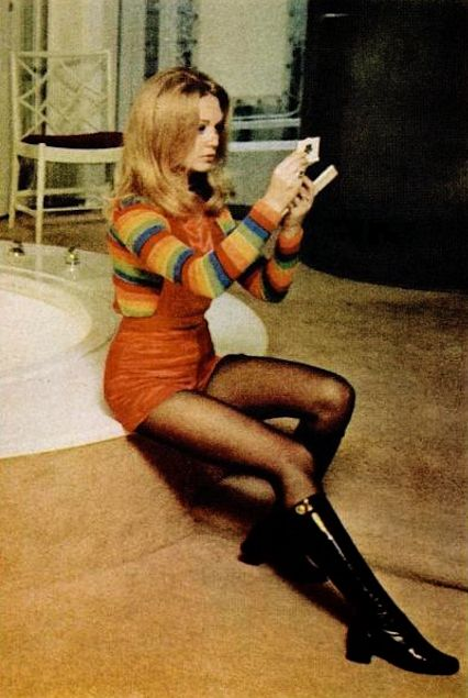 Short-alls, nylons and boots -- 1970 -- Elaine Taylor, wife of actor Christopher Plummer (they are still married today)