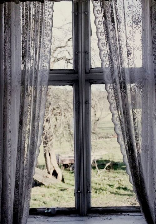 Old Window & Lace Curtains - I'm kinds obsessed with lace