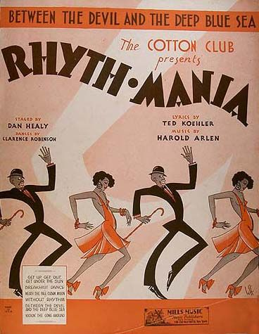 Theater poster for the Rhyth Mania Revue at the Cotton Club, Harlem, NYC.    Vintage African American photography courtesy of Black History Album, The Way We Were.