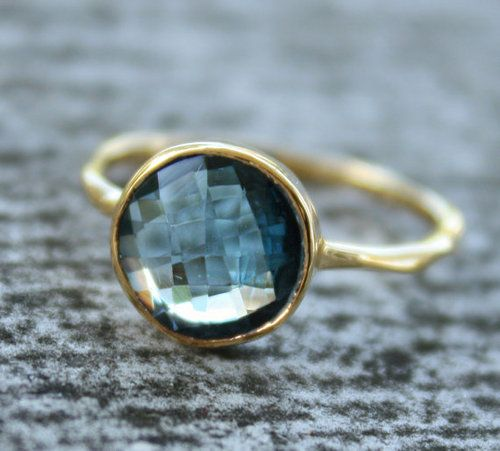 Gold & Blue. Thin & Simple ringLondon Blue Topaz, Wedding Ring, Stack Rings, Fashion Shoes, Mothers Day, Stacked Rings, Gold Rings, White Gold, Topaz Rings