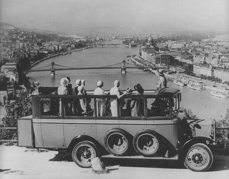 The Gellért Hill viewpoint by omnibus.  Early 20th Century