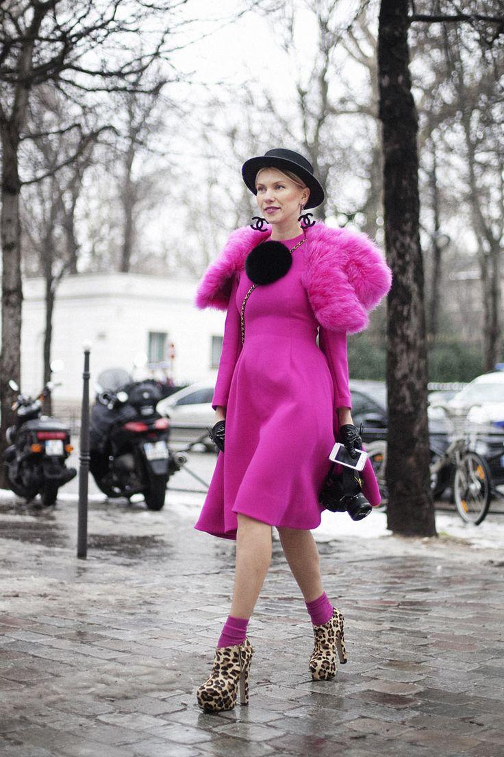 Street style en la alta costura de Paris primavera verano 2013: Zhanna Romashka