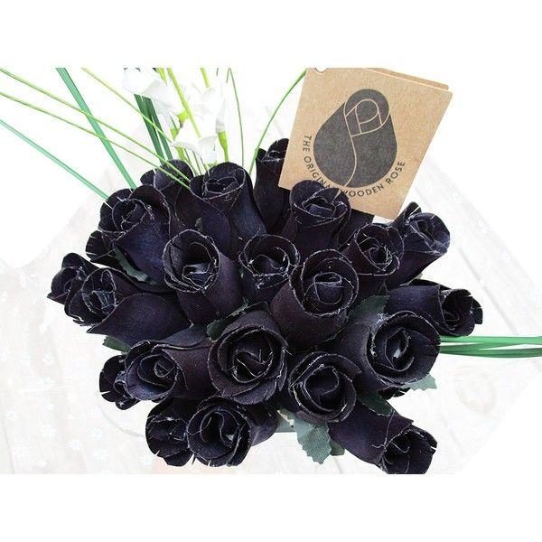 The Original Wooden Rose Halloween All Black Gothic Flower Bouquet... ($21) ❤ liked on Polyvore featuring home, home decor, floral decor, silk rose bouquet, fake flower arrangement, faux flowers, silk flower arrangement and imitation flowers