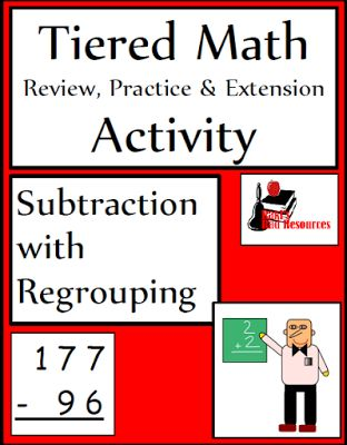 Classroom Freebies: Free Tiered Math Activity for Subtraction with Regrouping - 3 differentiated activities