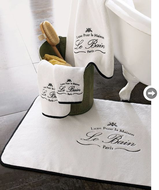 Parisian hotel or spa embroidered towels.