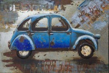 3D Art Wanddecoratie:Een oude roestige blauwe auto uit de jaren zestig.
