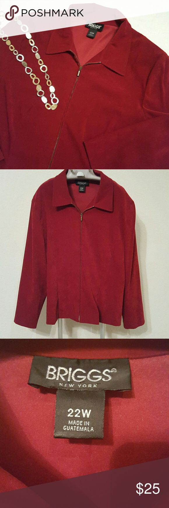 Briggs New York Red Zip Up Jacket Briggs New York red jacket with gold zipper. Beautiful swade like jacket. Looks great zipped or loose. 97% Polyester, 3% Spandex Briggs New York Jackets & Coats Blazers