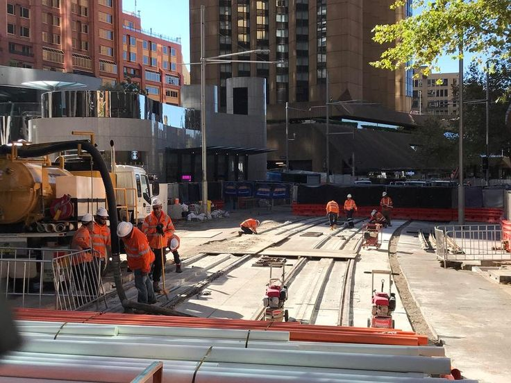 """George St track laying progress for the new light rail. The """"third rail"""" for the power supply is clearly visible. This will only energise when there is a light rail vehicle over it."""