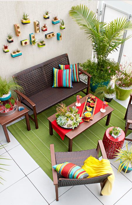 Decorate a small patio or deck with these smart tips. Properly scaled furniture, decor, and plants can help you get big enjoyment out of a small outdoor space.