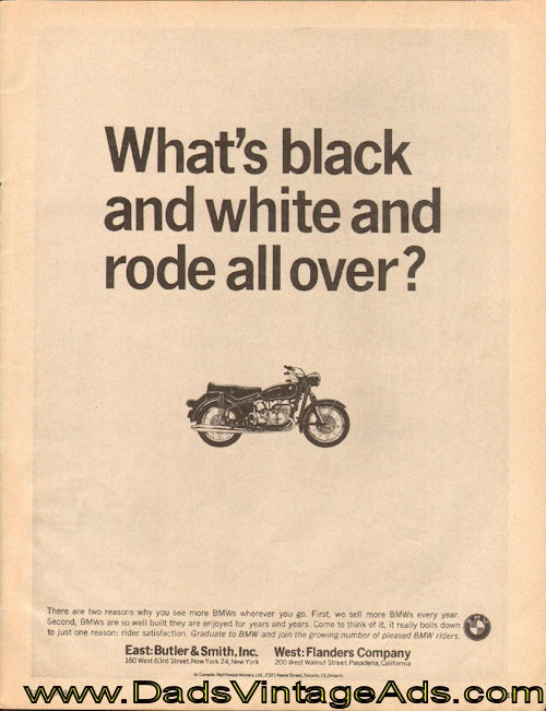1964 Vintage BMW Motorcycle Ad – What's black and white and rode all over?
