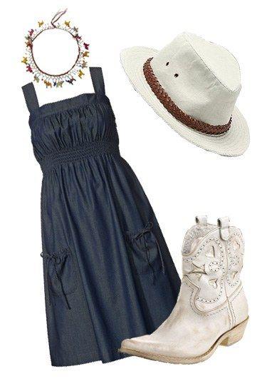 Cowgirl-Look 4 - Cowgirl - Hingucker bei diesem Cowgirl-Look sind die tollen Stiefel in stylischer Western-Optik. Kombiniert mit dem verspielten Jeanskleid ein unschlagbares Styling-Team! > Kleid von S...