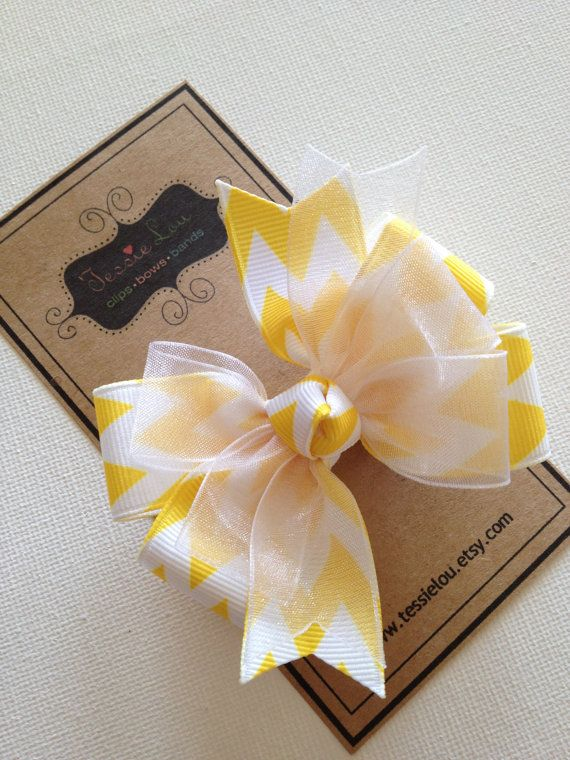 Hair Bow - Little Girl Hairbows - Layered Chevron Pinwheel Bows - Yellow Chevron Print Bow. $5.50, via Etsy.