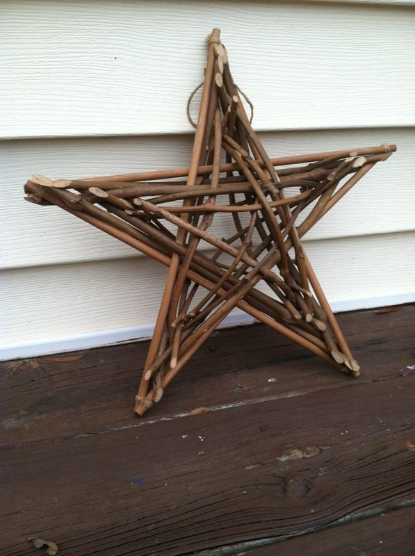 Large woven wood vine hanging country primitive Christmas star 14""