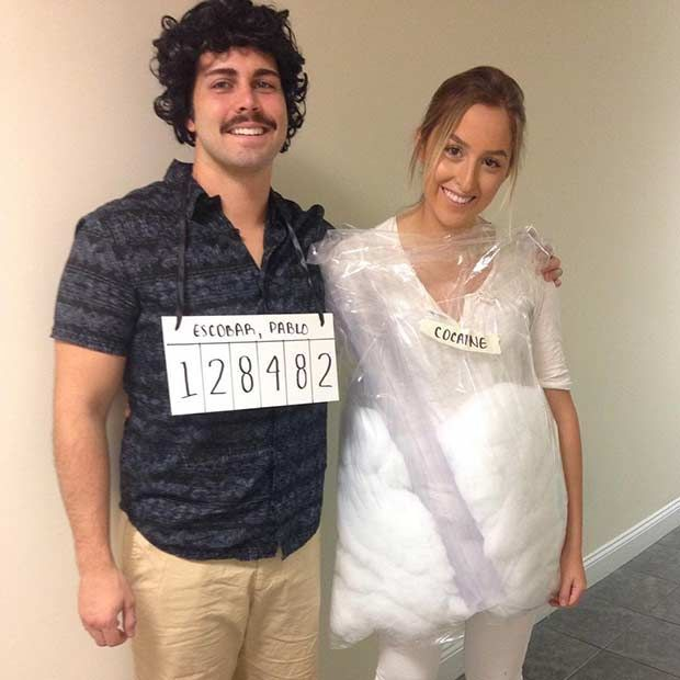 Narcos Couples Halloween Costume (Pablo Escobar + Cocaine) #coupleshalloweencostumes