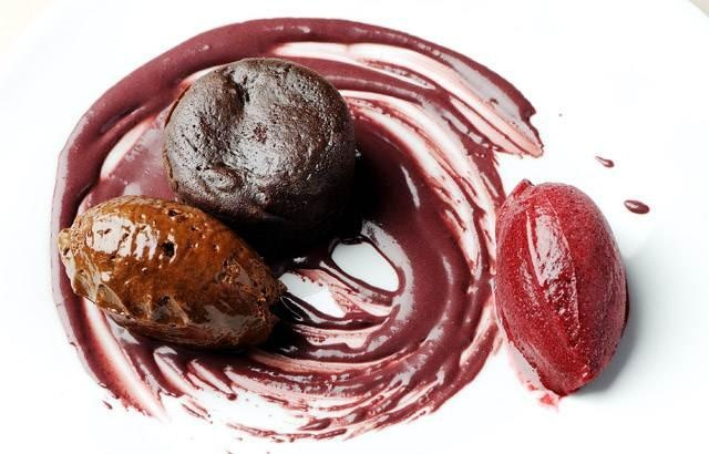 Chocolate pudding, lavender blackberry sorbet, caramel and dark chocolate mousse, and blackcurrant sauce - Pascal Aussignac -- easier than you'd think