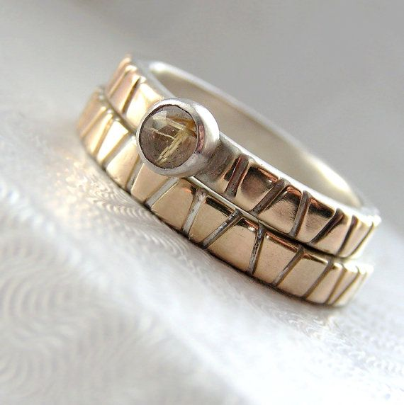 Amazing Lines in Gold Set Modern Two Tone Gold and Silver Wedding Band and Engagement Ring