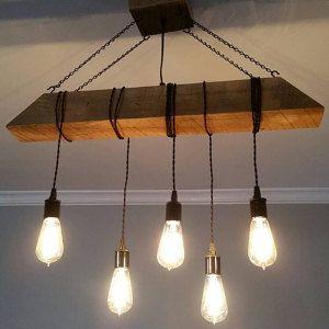cr er votre propre personnalis petit live bord bois dalle luminaire avec suspendus edison. Black Bedroom Furniture Sets. Home Design Ideas
