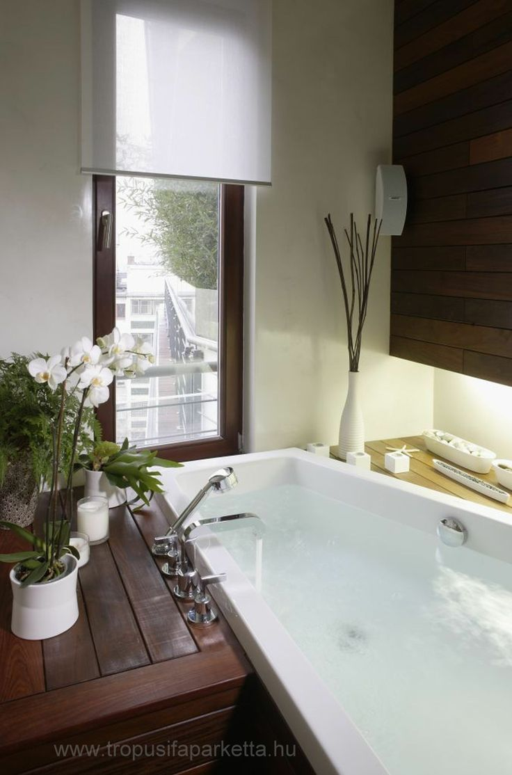 Bathroom with wenge solid wood parquet.