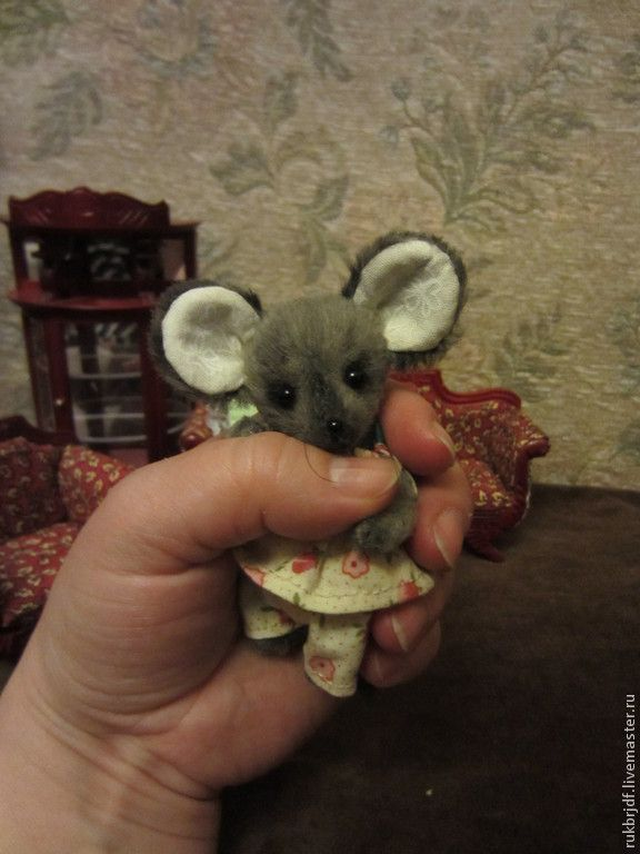 Купить Мышуля (8см) - темно-серый, мышка, мышонок, мышки, мышата, мышка тедди, мышь