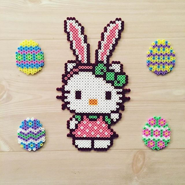 Easter Hello Kitty perler beads by kittybeads